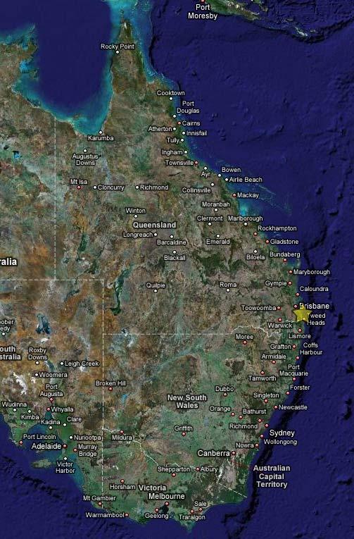 Золотое побережье на карте Австралии