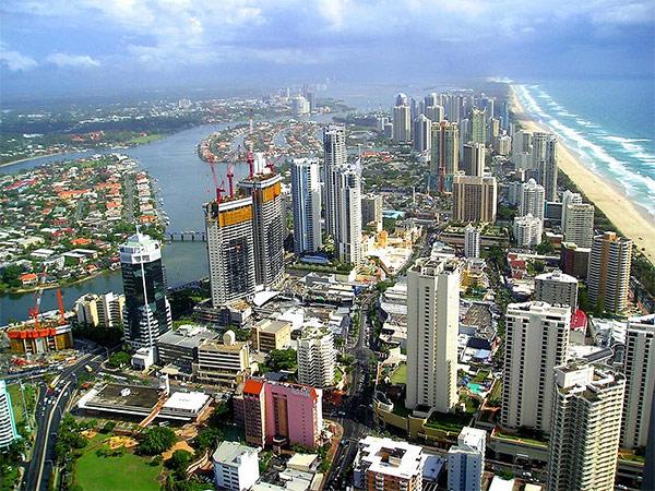 Вид на деловую часть города с высоты